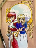artist:annk char:adol_christin char:elena_stoddart game:ys_iii:_wanderers_from_ys game:ys_iii:_wanderers_from_ys_(pc-88) // 900x1200 // 274.5KB