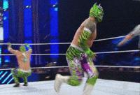 Kalisto Lucha_Dragons autoplay_gif botch gif mask referee sin_cara smackdown suicide_dive wwe // 200x136 // 813.7KB