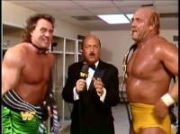 "Brutus_""The_Barber""_Beefcake hulk_hogan mean_gene_okerlund microphone suit wwf // 421x315 // 205.4KB"