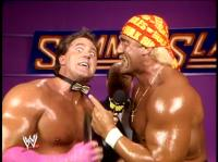 "Brutus_""The_Barber""_Beefcake hulk_hogan microphone pointing summerslam wwf // 402x301 // 189.7KB"
