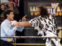 macho_man_randy_savage pointing referee wrestlemania wwf // 412x308 // 199.0KB